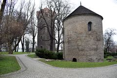 Historic buildings in Cieszyn. Buildings are located in the castle park in Cieszyn. They are historical buildings. The Czech border is just next door stock photos