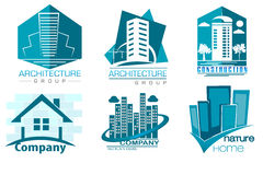 Buildings logos in blue colors. Vector set vector illustration