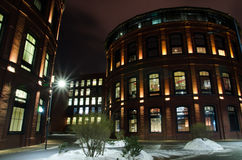 Buildings long exposure in the winter at night. Night buildings long exposure in the winter Stock Photos