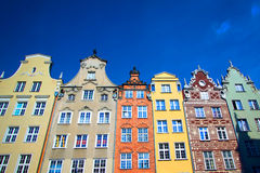 Buildings on Long Market street, Gdansk, Poland. Old town of Gdansk city, Poland. Colorful European Houses Stock Image