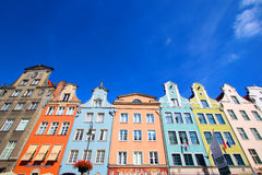 Buildings on Long Market street, Gdansk, Poland. Old town of Gdansk city, Poland. Colorful European Houses Royalty Free Stock Image