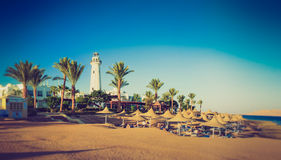 Buildings of the luxury hotel and palm alley on egyptian beach, lighthouse. Red Sea. Egypt. Stock Photography
