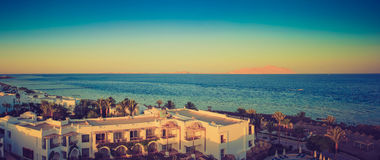 Buildings of the luxury hotel at sunset. Sharm el Sheikh, Egypt. Red Sea. Stock Photos