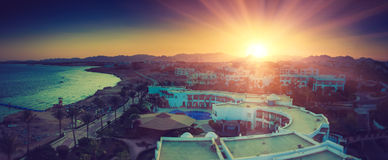 Buildings of the luxury hotel at sunset. Sharm el Sheikh, Egypt. Red Sea. Royalty Free Stock Images