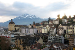 Buildings in Luzern. On a background of mountains Stock Image