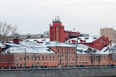 Buildings on the Luzhnetskaya embankment in winter Royalty Free Stock Images