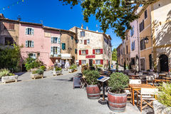 Buildings On The Main Square-Tourtour,France Stock Photos
