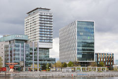 Buildings at Manchester ship canal and Salford dock area in the UK Royalty Free Stock Photos