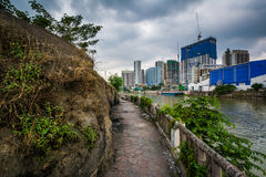 Buildings in Mandaluyong and the Pasig River, in Makati, Metro M Royalty Free Stock Photos