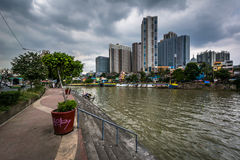 Buildings in Mandaluyong and the Pasig River, in Makati, Metro M Stock Images