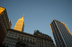 Buildings in Manhattan in the Evening Sun with Empire State Building in the Back Royalty Free Stock Photo