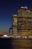 Buildings of Manhattan at night. Stock Image