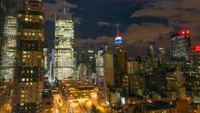 Buildings of Manhattan at night, New York City Royalty Free Stock Image
