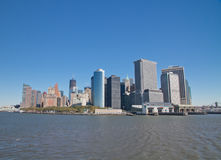 Buildings on Manhattan. Manhattan buildings view from Sea Stock Photography