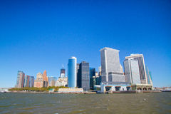 Buildings on Manhattan. Manhattan buildings view from Sea Royalty Free Stock Images