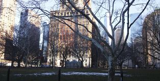 Buildings in the manhattan winter stock images