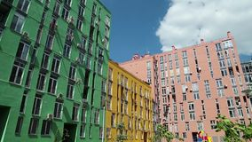 Buildings with many-coloured facades. Buildings with a many-coloured facades stock video footage