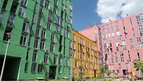 Buildings with many-coloured facades stock video footage