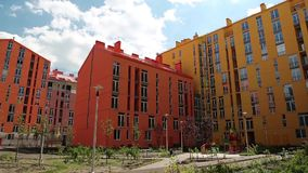 Buildings with many-coloured facades. New buildings with many-coloured facades stock footage