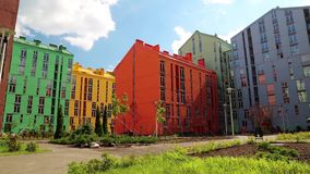 Buildings with many-coloured facades. New buildings with many-coloured facades stock video