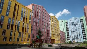 Buildings with many-coloured facades. New buildings with many-coloured facades stock video footage