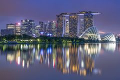 The buildings in Marina Bay area in Singapore stock photos