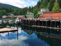 Buildings and marina in Telegraph Cove, British Columbia, Canada Stock Photos