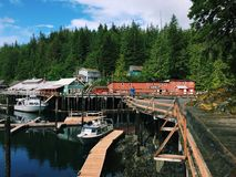 Buildings and marina in Telegraph Cove, British Columbia, Canada Stock Image