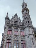 Buildings in the Market Square, Old Town of Bruges, Belgium stock photo