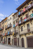 Buildings with medieval shields at the Piazza Grande in Arezzo Royalty Free Stock Photos