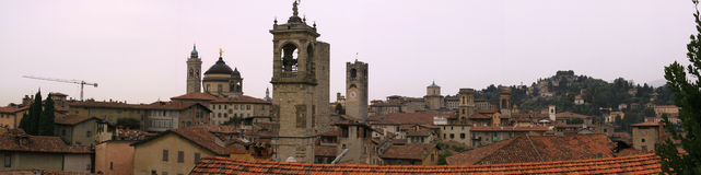 Buildings in the medieval town of Bergamo Royalty Free Stock Images