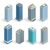 Buildings and modern city houses on 30-40 floors flat isoleted vector icons. Isometric projection of a three-dimensional houses, buildings for web projects Royalty Free Stock Images