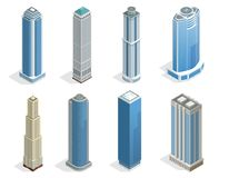 Buildings and modern city houses on 50-70 floors flat isoleted vector icons. Isometric projection of a three-dimensional houses, buildings for web projects Stock Images