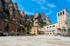 Buildings of Montserrat monastery located between huge rocks in Catalonia, Spain Royalty Free Stock Image