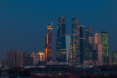 Buildings of Moscow City complex of skyscrapers at evening in Moscow Royalty Free Stock Photography