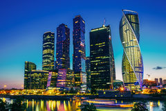 Buildings Of Moscow City Complex Of Skyscrapers At Evening In Moscow Stock Image