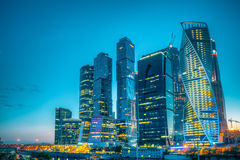 Buildings Of Moscow City Complex Of Skyscrapers At Royalty Free Stock Photography