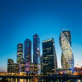 Buildings Of Moscow City Complex Of Skyscrapers At Stock Photography