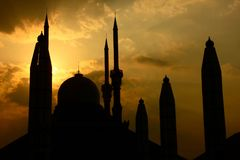 Buildings, Mosque, Sunset Royalty Free Stock Images