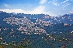 Buildings on a mountain, Shimla, Himachal Pra. High angle view of buildings on a mountain, Shimla, Himachal Pradesh, India Royalty Free Stock Images
