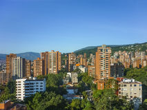 Buildings and Mountains in Medellin Colombia Royalty Free Stock Photography