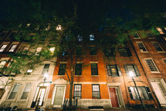Buildings on Myrtle Street at night, in Beacon Hill, Boston, Mas Royalty Free Stock Photos