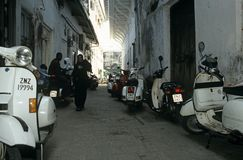 Buildings in the narrow streets of Zanzibar Stock Photo
