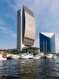 Buildings National Bank of Dubai and DCCI, the Cre Stock Images