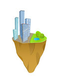 Buildings and nature concept on mini slice planet Royalty Free Stock Photography