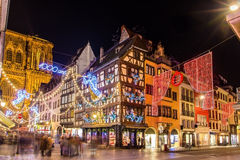 Buildings near the Cathedral in Strasbourg before Christmas. France Stock Image