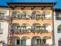Buildings near lake in Locarno, Switzerland Stock Images