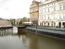 Buildings near Vltava, Prague Stock Photos