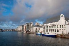 City of Helsingborg in Sweden. Buildings near the waterfront in city of Helsingborg in Sweden stock images