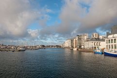 City of Helsingborg in Sweden. Buildings near the waterfront in city of Helsingborg in Sweden stock photography